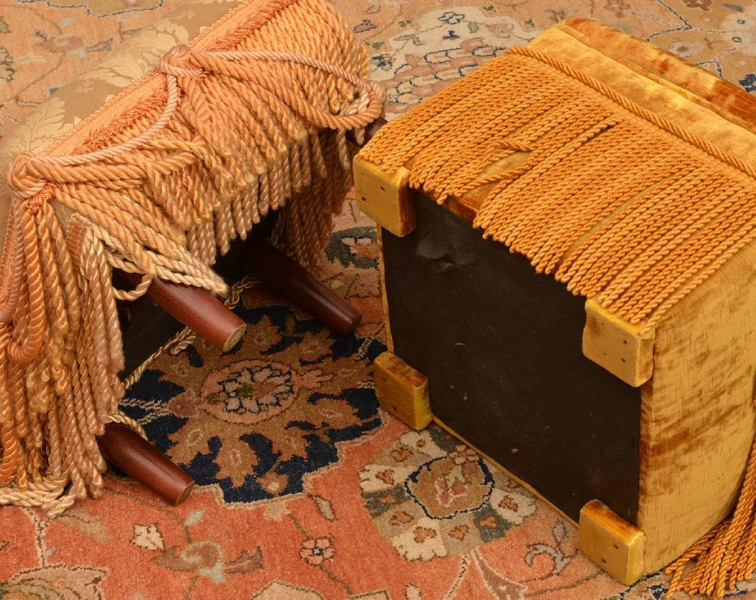 (2) Decorator silk fringed footstools - 4