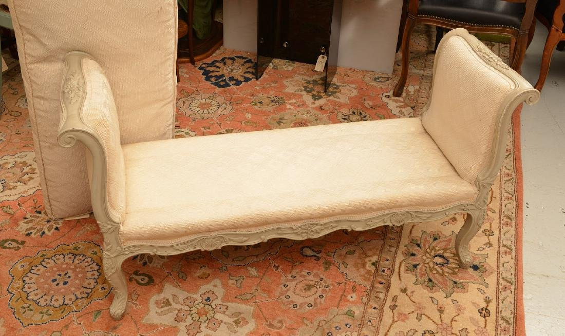 Louis XV style carved and painted window bench - 5