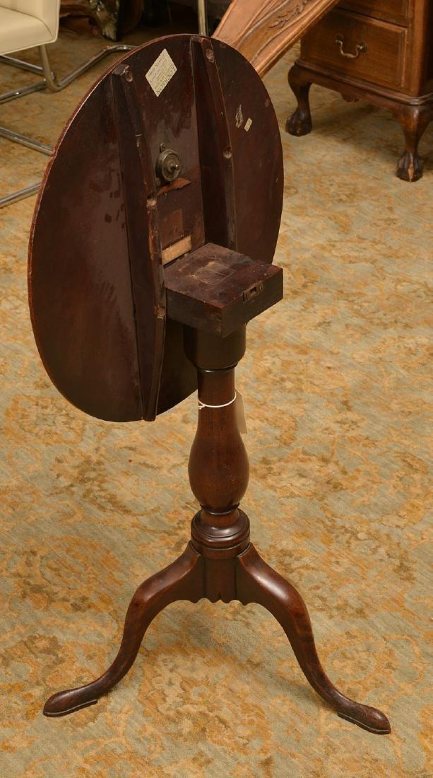 Antique English mahogany tilt top candlestand - 2