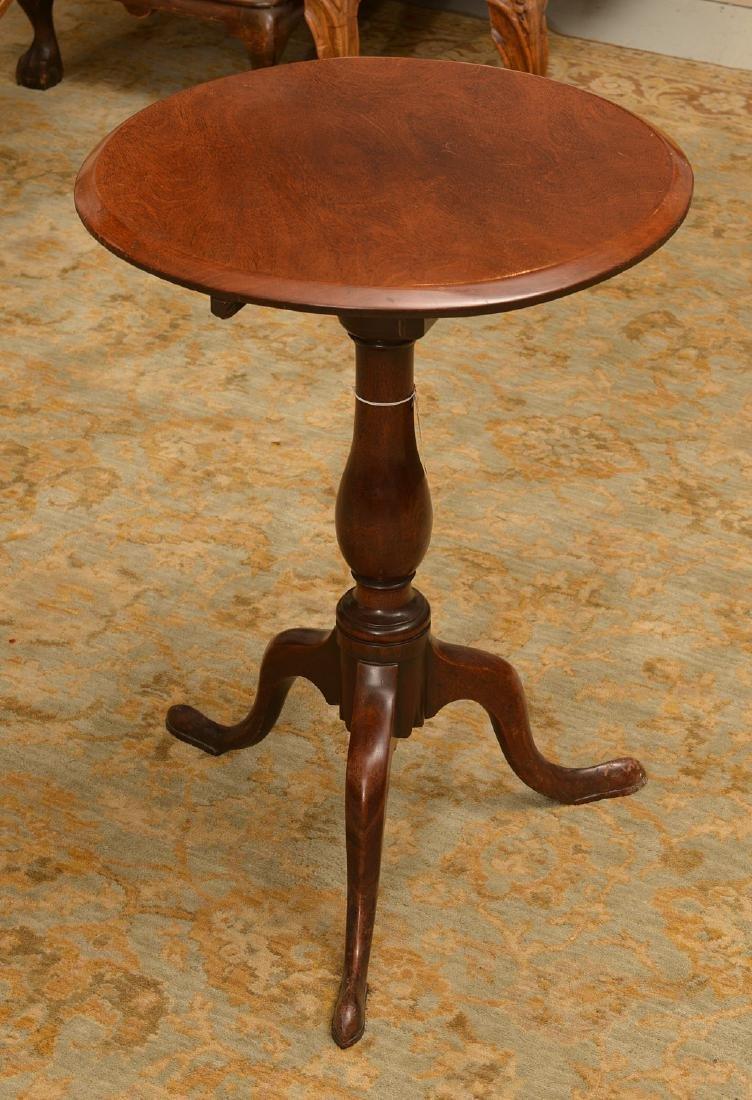 Antique English mahogany tilt top candlestand - 4