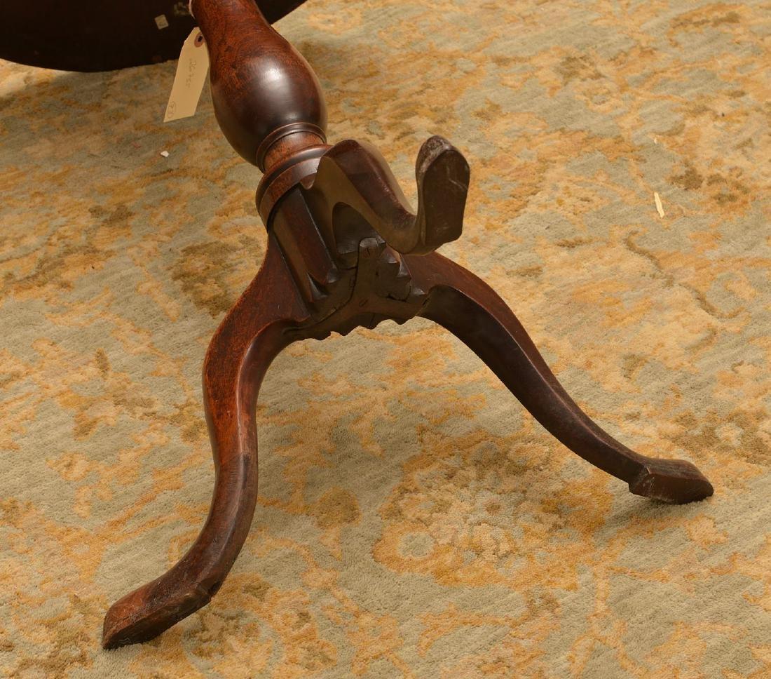 Antique English mahogany tilt top candlestand - 5