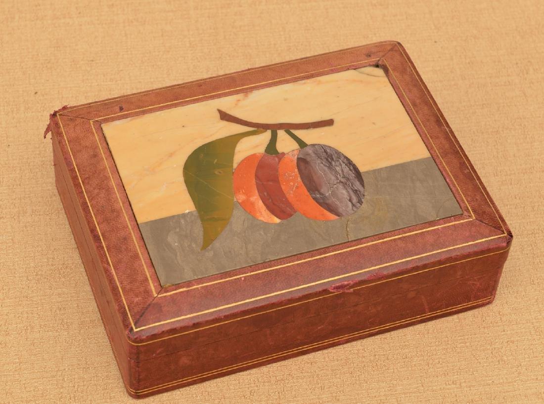 Italian Pietra Dura and leather jewelry box