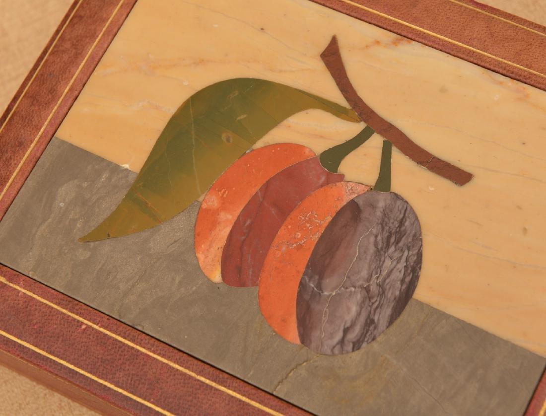 Italian Pietra Dura and leather jewelry box - 2