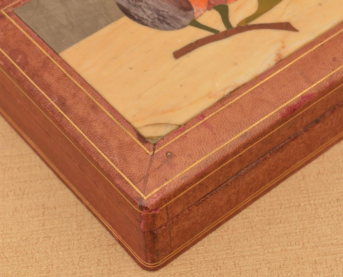 Italian Pietra Dura and leather jewelry box - 3
