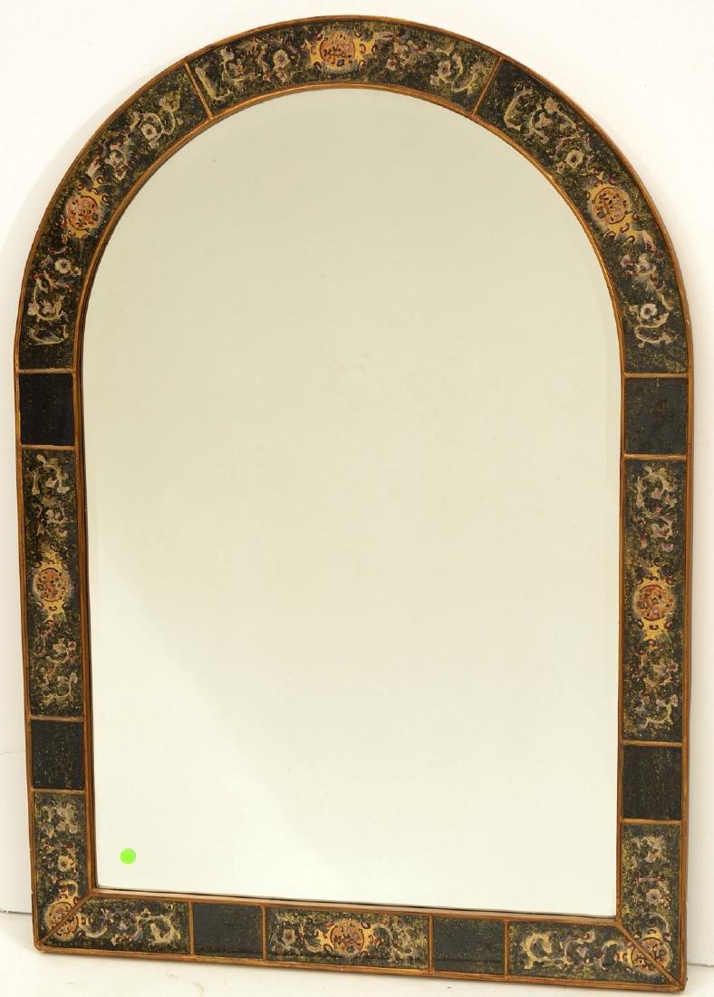 Designer eglomise framed arched wall mirror