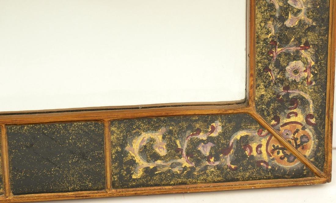 Designer eglomise framed arched wall mirror - 4