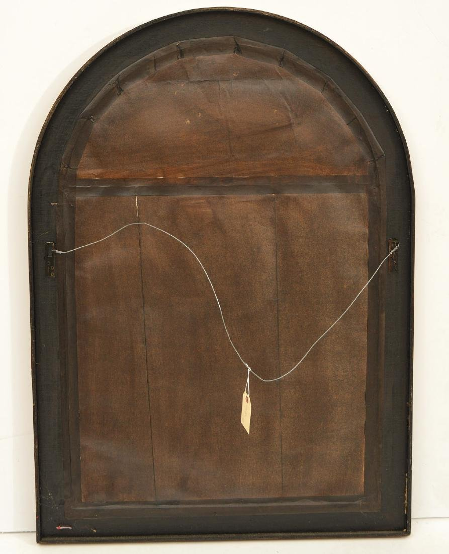 Designer eglomise framed arched wall mirror - 5