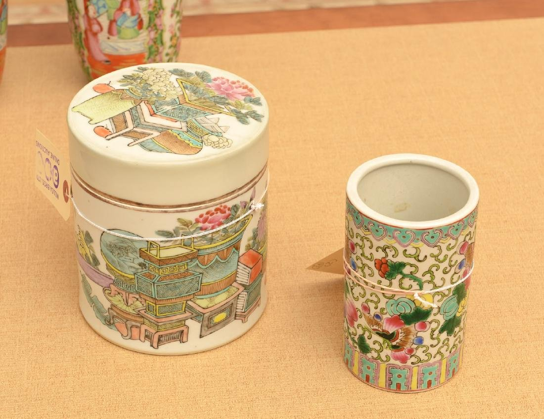 Chinese porcelain brush pot and covered jar
