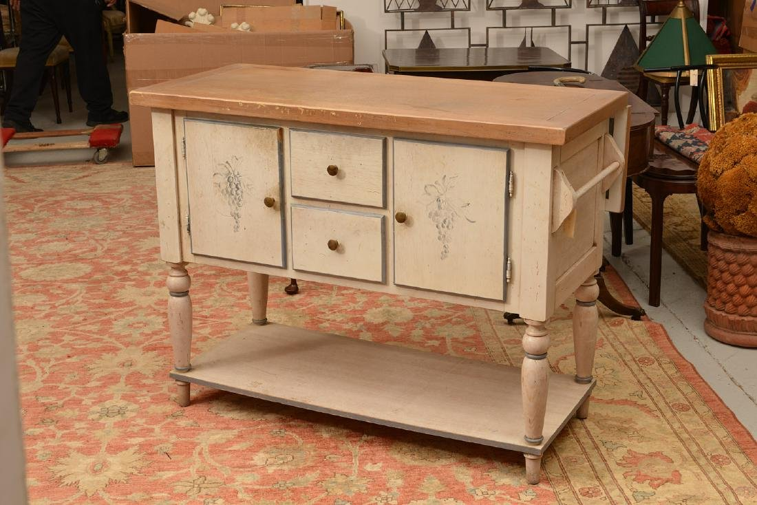 Country French style paint decorated buffet - 3