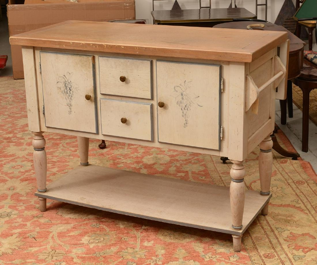 Country French style paint decorated buffet - 4
