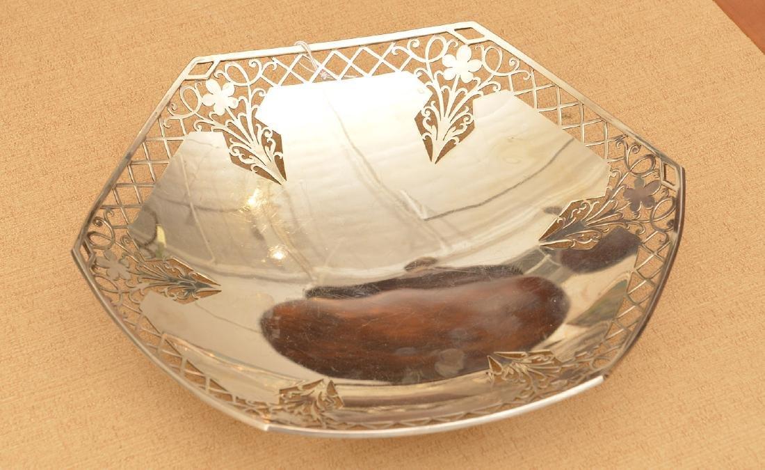 Mappin & Webb pierced sterling foot dish