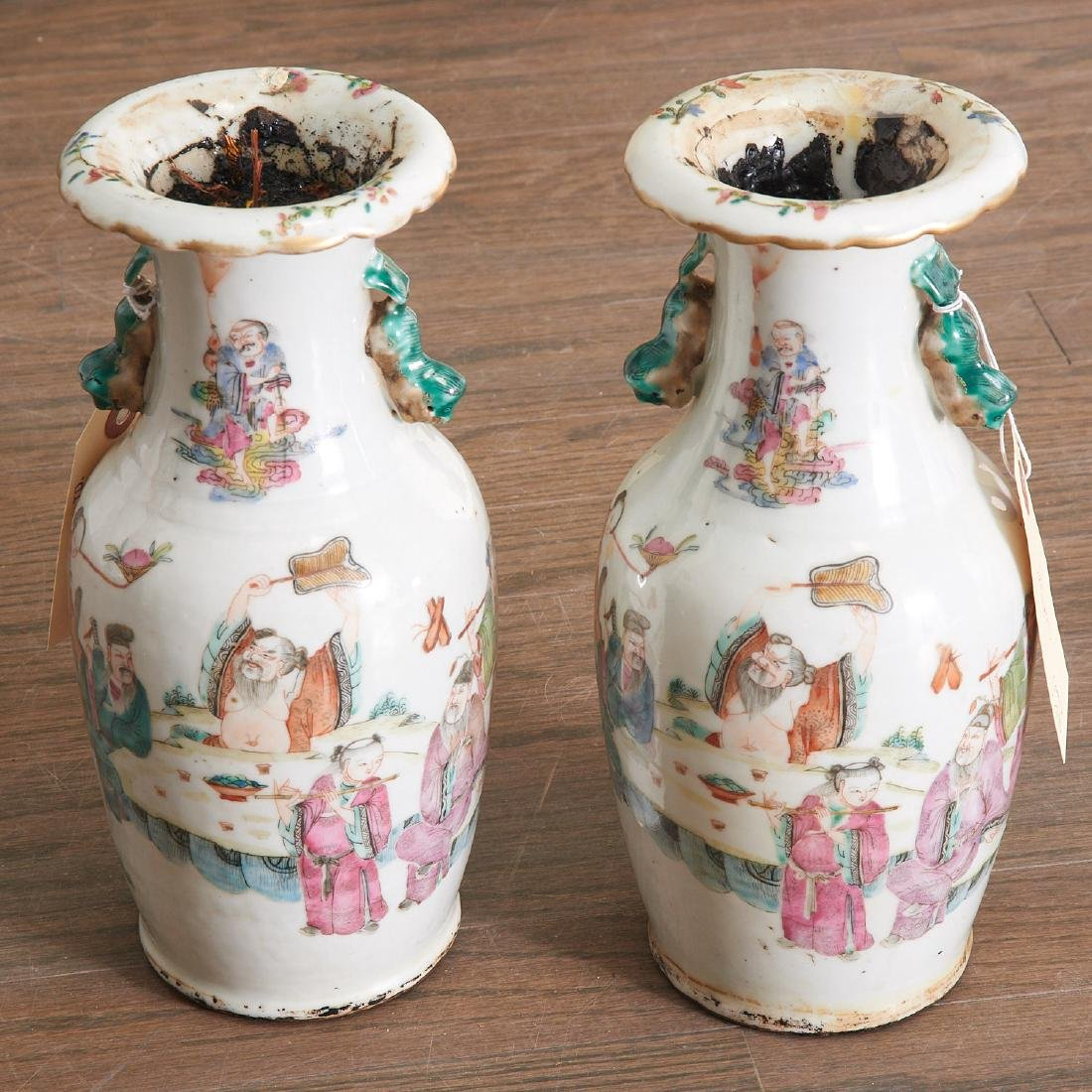 Pair Chinese famille verte porcelain vases