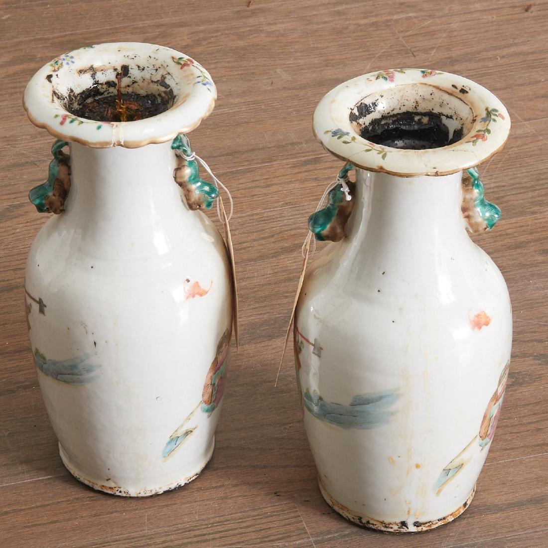 Pair Chinese famille verte porcelain vases - 3