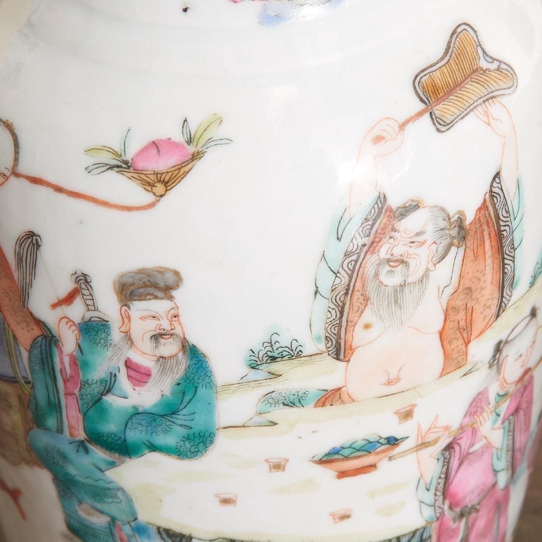 Pair Chinese famille verte porcelain vases - 4
