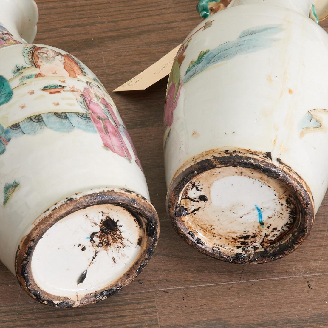 Pair Chinese famille verte porcelain vases - 5