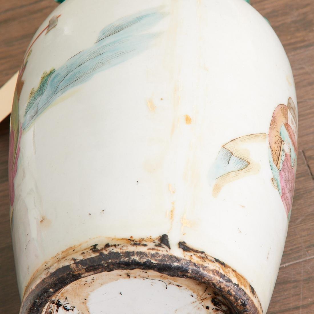 Pair Chinese famille verte porcelain vases - 6