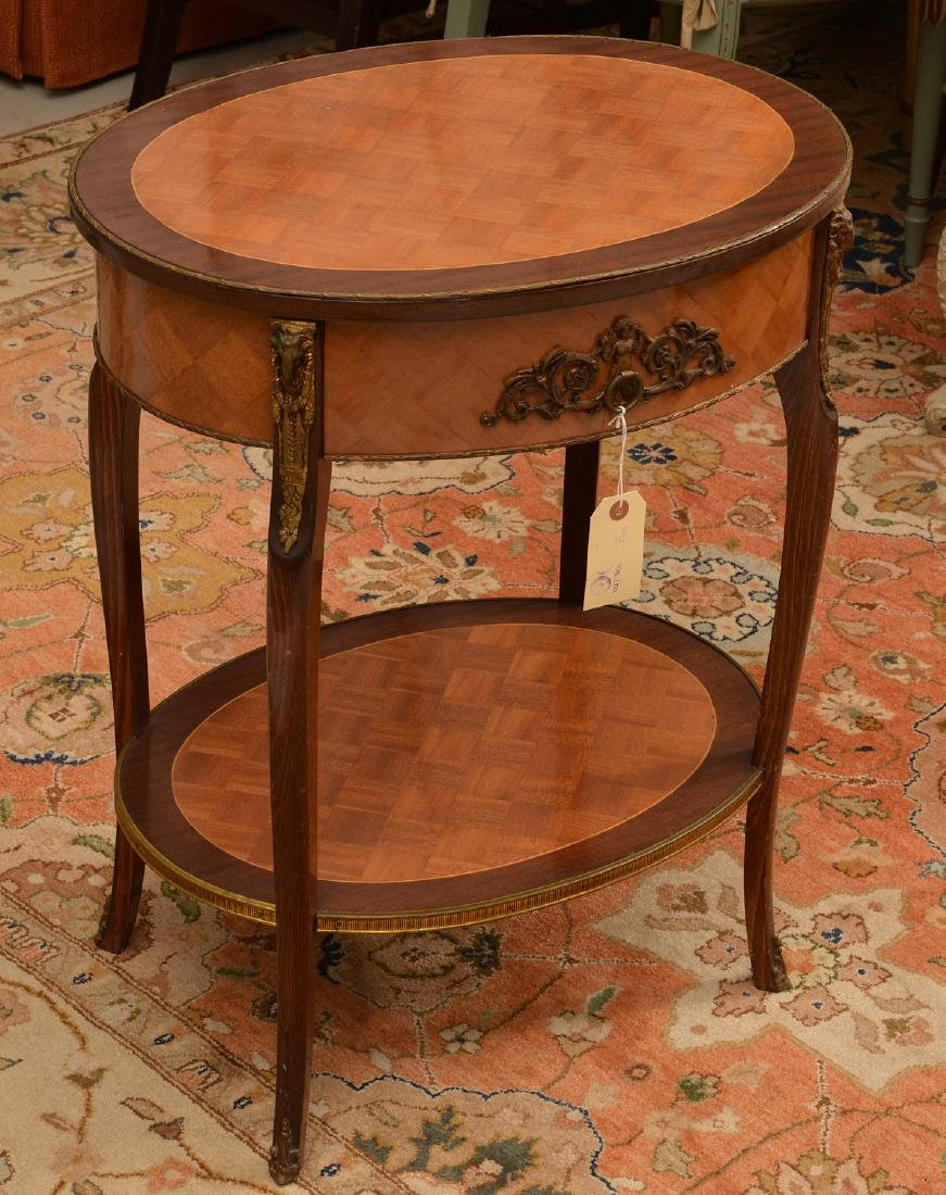 Signed Louis XV style parquetry end table