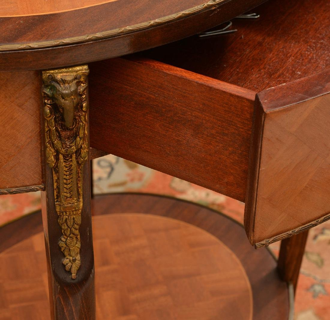Signed Louis XV style parquetry end table - 2