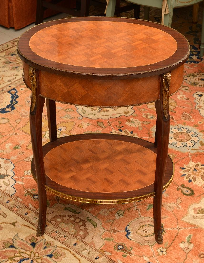 Signed Louis XV style parquetry end table - 4
