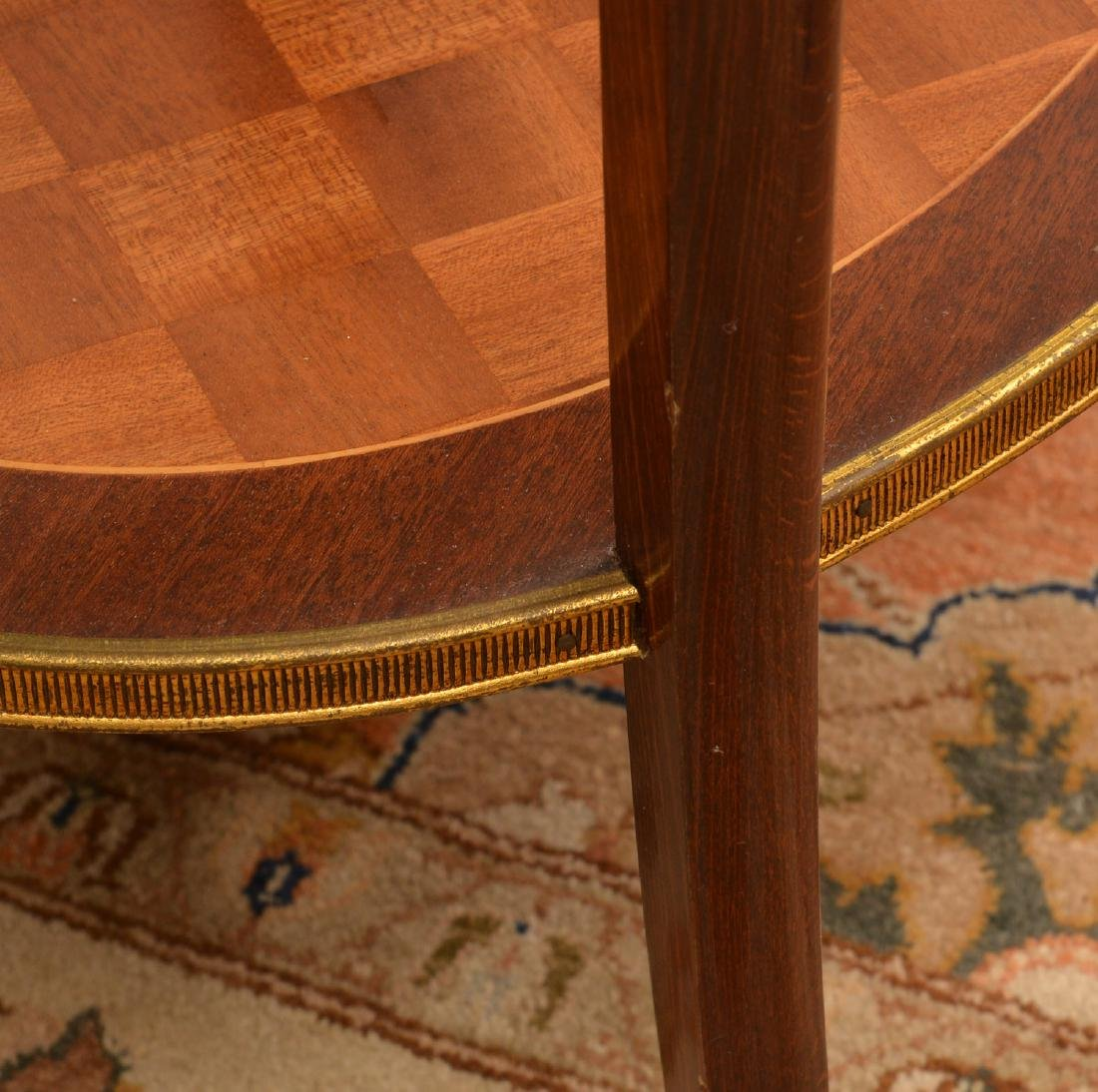 Signed Louis XV style parquetry end table - 5