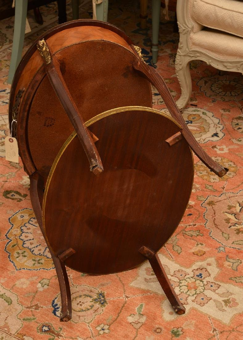 Signed Louis XV style parquetry end table - 6