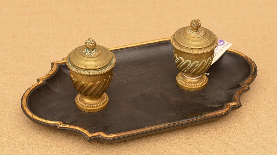 Louis XVI style bronze and ebony inkwell