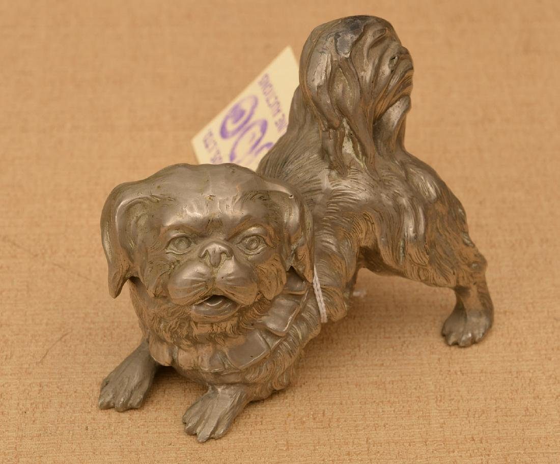 Silvered metal Pekingese dog inkwell