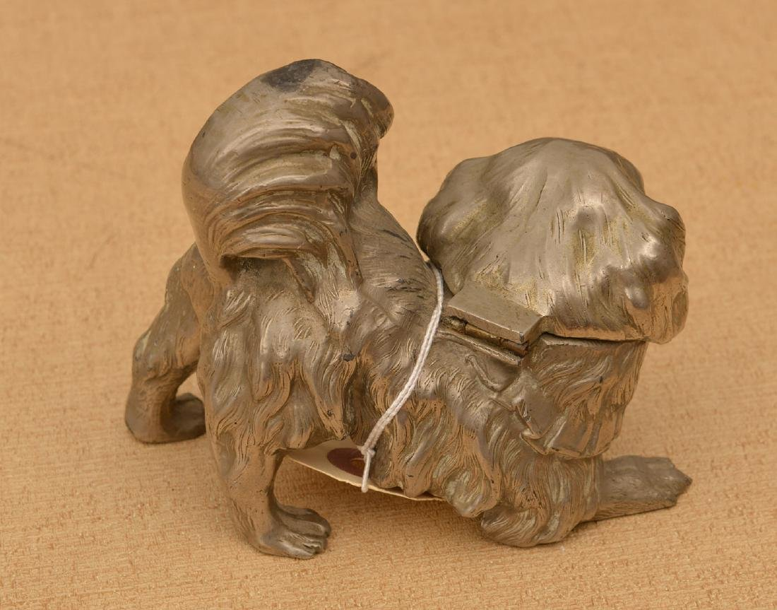 Silvered metal Pekingese dog inkwell - 2