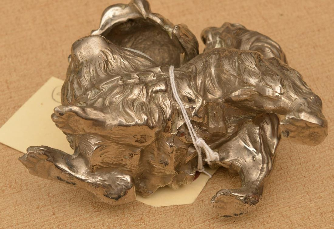 Silvered metal Pekingese dog inkwell - 4