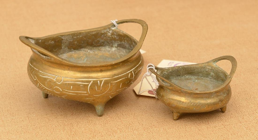 (2) Chinese miniature footed bronze censers