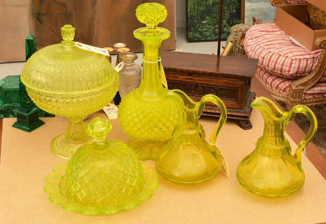 Nice group pressed/cut Uranium yellow glassware