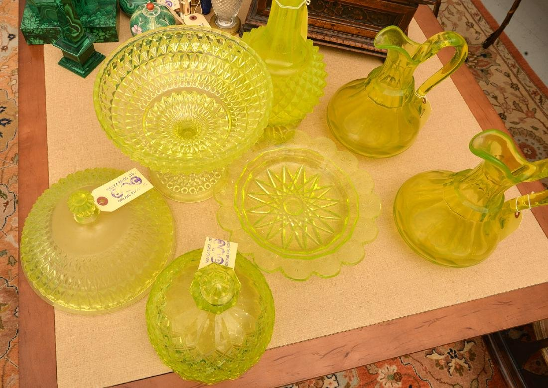 Nice group pressed/cut Uranium yellow glassware - 3