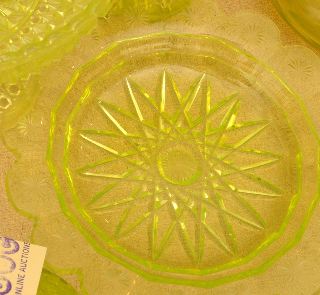 Nice group pressed/cut Uranium yellow glassware - 4