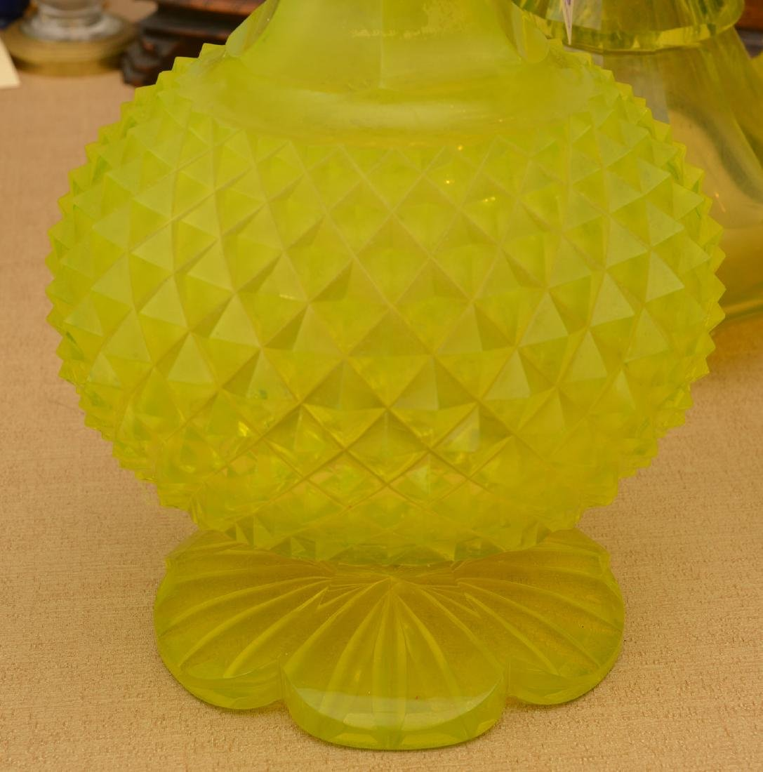 Nice group pressed/cut Uranium yellow glassware - 7