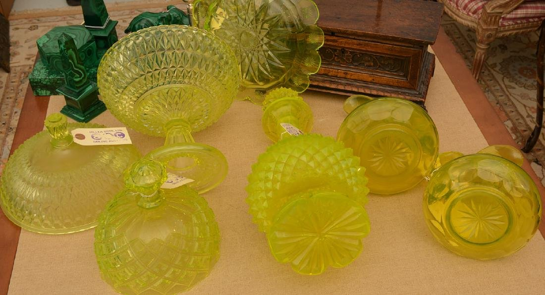 Nice group pressed/cut Uranium yellow glassware - 8