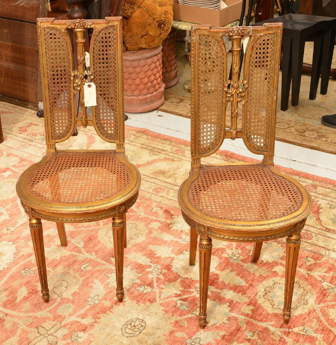Pair Italian caned giltwood fasces side chairs