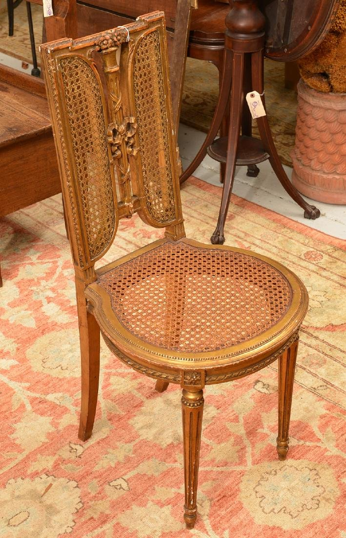 Pair Italian caned giltwood fasces side chairs - 2