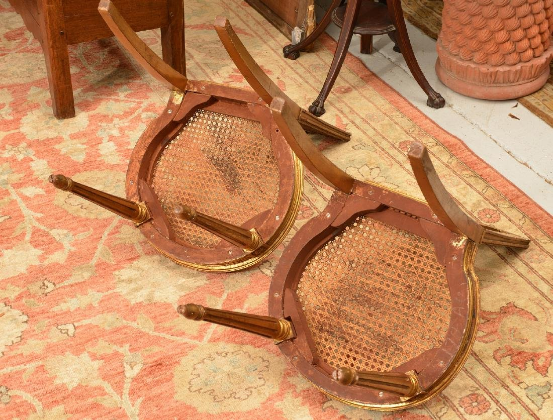 Pair Italian caned giltwood fasces side chairs - 4