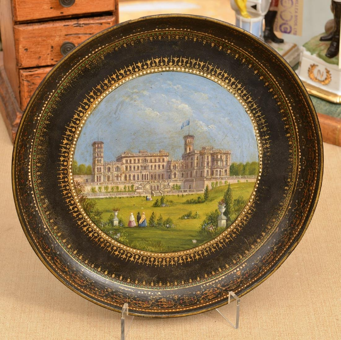 Victorian papier mache dish with Manor house