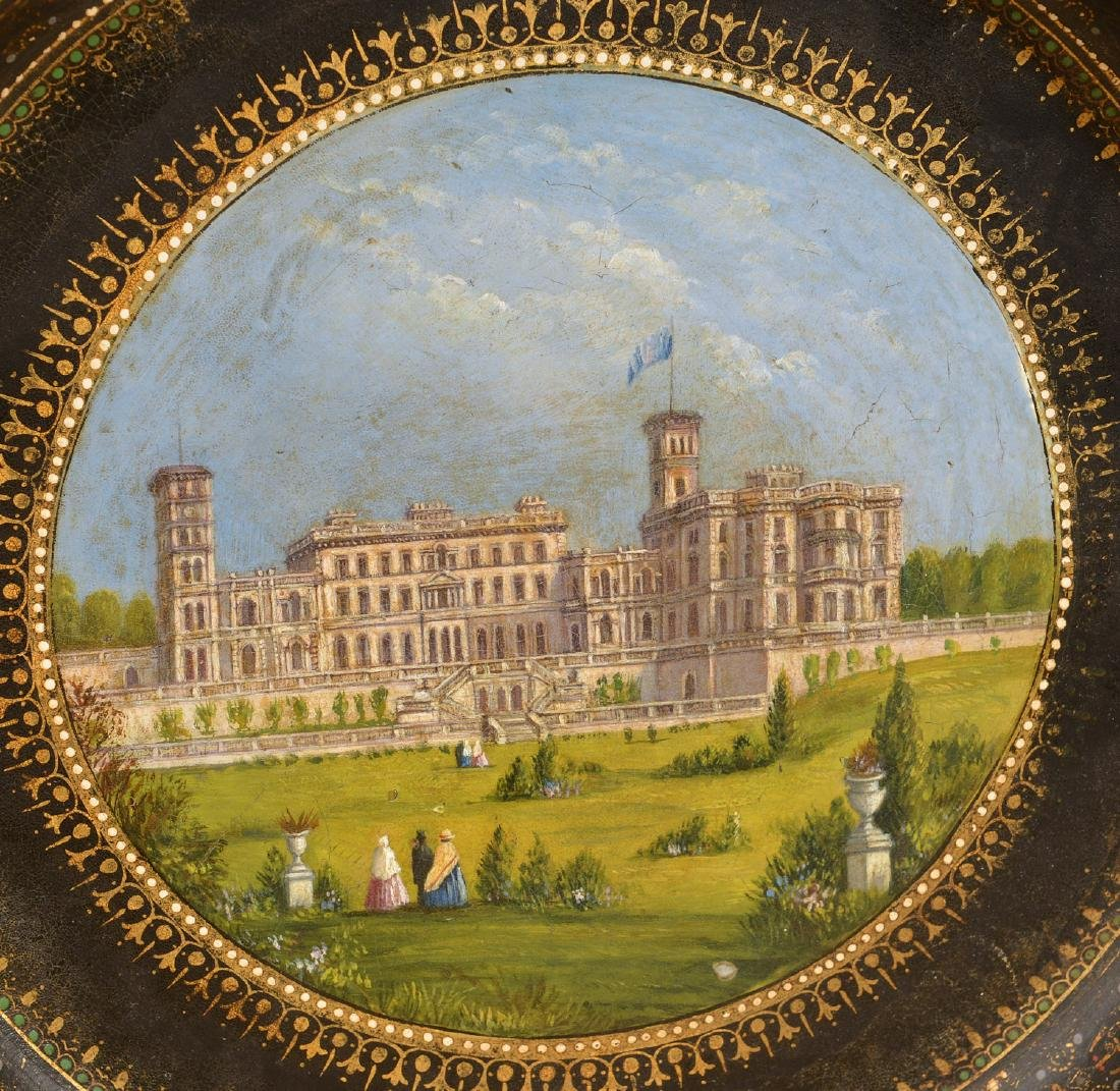 Victorian papier mache dish with Manor house - 2