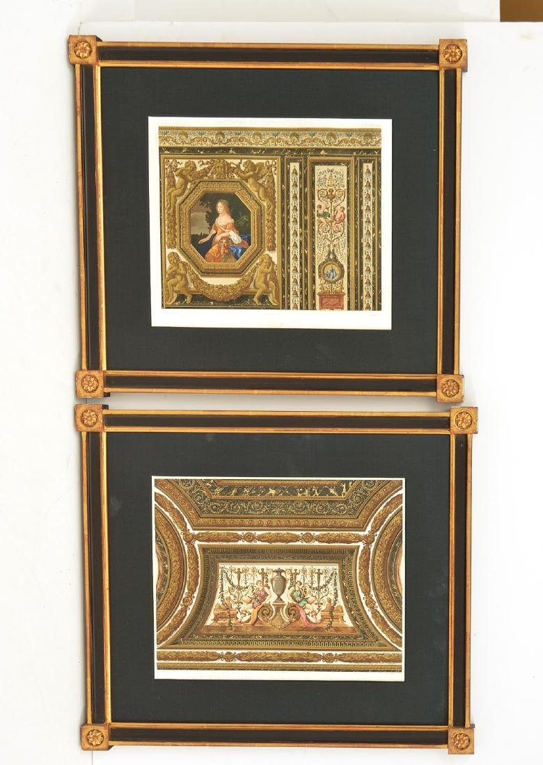French School, pair architectural lithographs