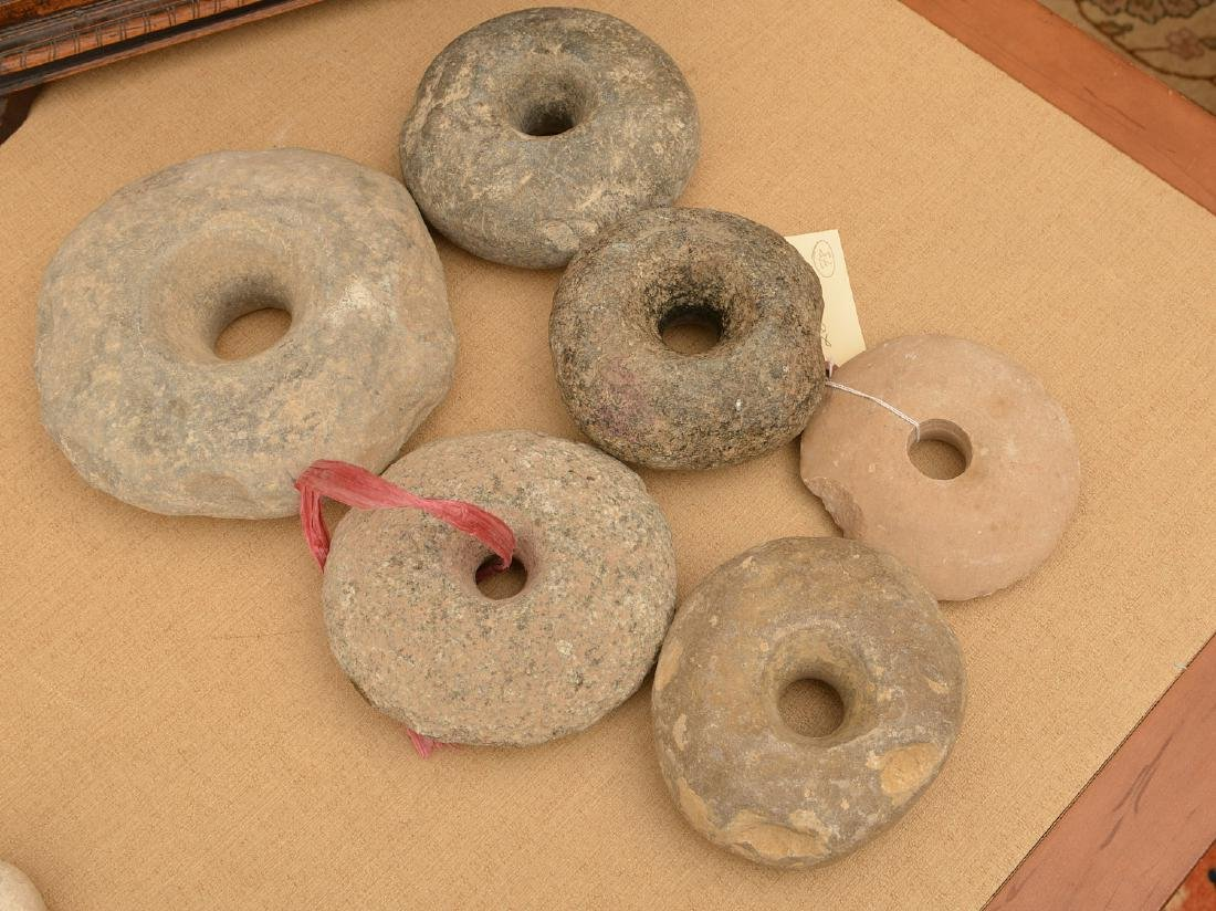 (6) ancient stone discoidals / mace heads