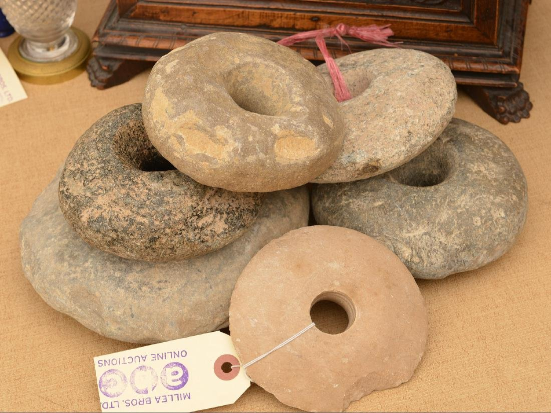 (6) ancient stone discoidals / mace heads - 6