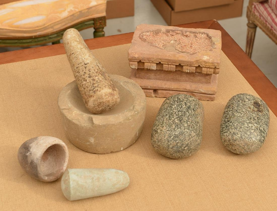 Group ancient stone mortar, pestle, metate & manos