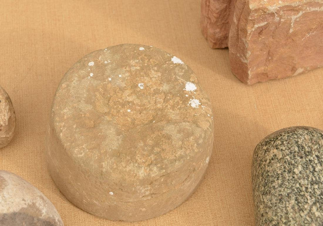 Group ancient stone mortar, pestle, metate & manos - 4