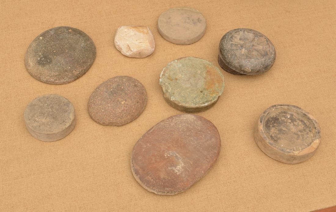 (10) ancient discoidals, nutting stones, & metates - 6