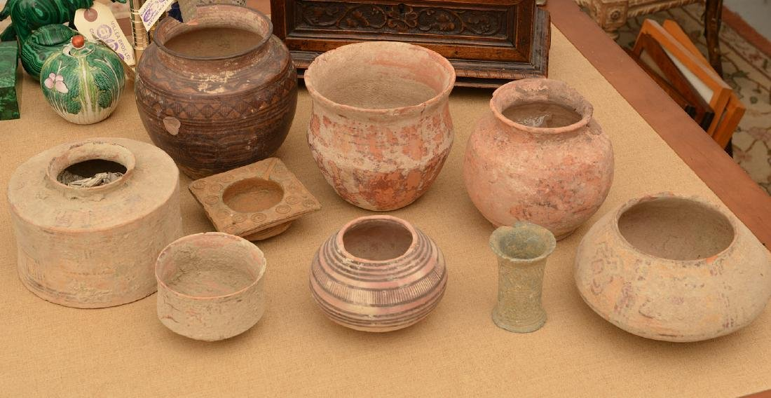 (9) ancient terra-cotta and pottery vessels