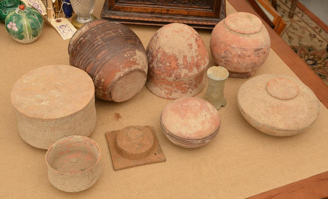 (9) ancient terra-cotta and pottery vessels - 8