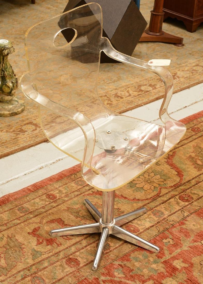 Vintage bent Lucite desk chair - 2