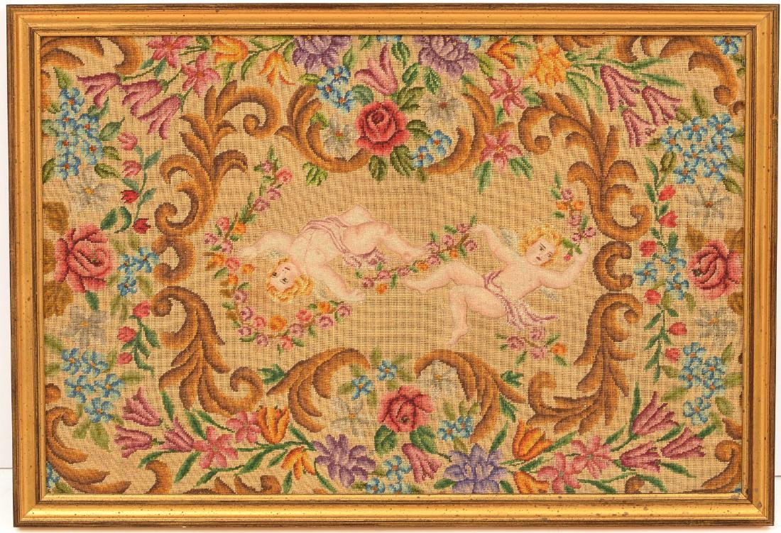 Framed petit point and needlepoint panel